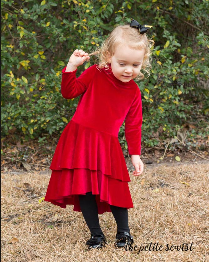 Noelle Dress, Velvet Dress Valentine's Day, sewing pattern by Made for Mermaids, review by thepetitesewist.com