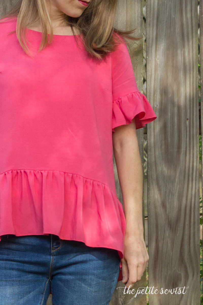Claiborne Top by DIBY Club, review by The Petite Sewist thepetitesewist.com - lightweight woven top sewing pattern misses plus ruffle hem ruffle sleeve
