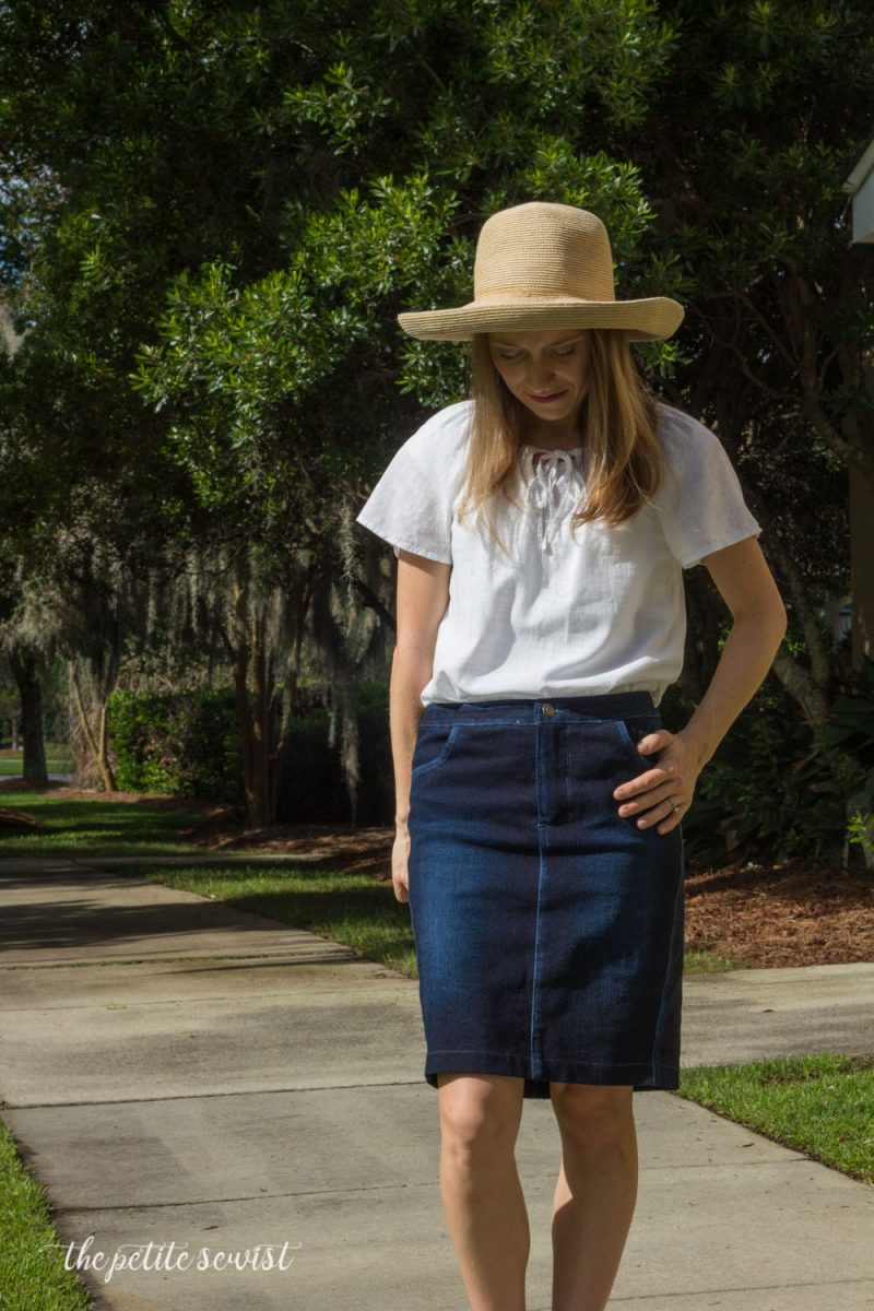 How to distress denim + Burda 6769 denim skirt pattern review by thepetitesewist.com